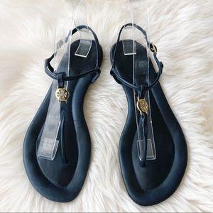 Tory Burch Sandals Navy Blue Gold Emmy Flats 9M